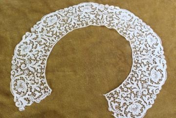 antique venise lace collar, round bertha collar vintage Victorian Edwardian era
