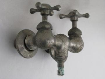 antique victorian claw foot bath tub or shower faucet w/star taps