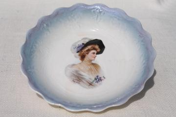 antique vintage 1904 china plate w/ Gibson girl style portrait of a lady Philip Boileau