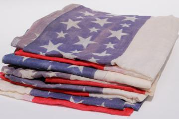 antique vintage American flag patriotic stars & stripes print cotton fabric for bunting