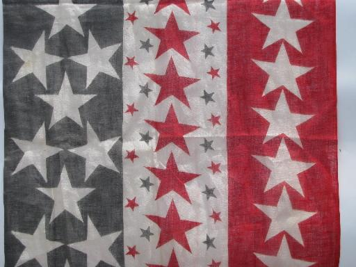 antique vintage American flag stars and stripes print cotton fabric for bunting
