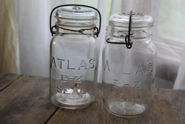 antique vintage Atlas E-Z jars glass quart size canning jars w/ bail lids