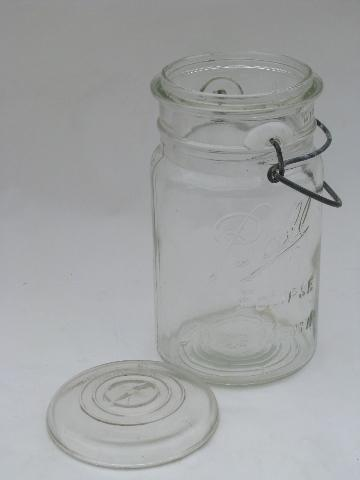 antique vintage Ball Eclipse Wide Mouth glass mason jar with glass lid