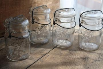 antique vintage Ball Ideal jars glass pint size canning jars w/ bail lids