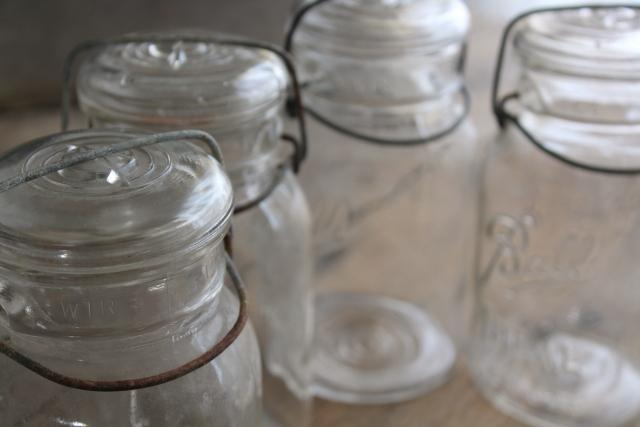 antique vintage Ball Ideal jars glass quart canning jars w/ bail lids