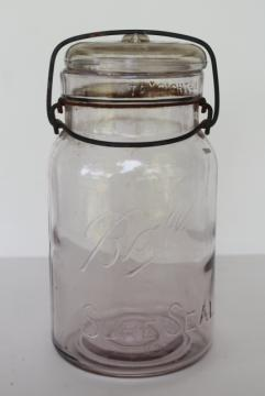 antique vintage Ball Sure Seal clear glass quart canning jar w/ glass lid