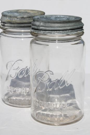 antique vintage Ball mason jars, 1 quart wide mouth storage canisters w/ zinc lids