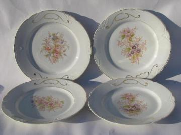 antique vintage Bavaria china plates, hand-painted porcelain w/ different florals