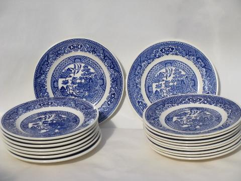 Antique Amp Vintage Blue Willow China Lot Of 18 Bread