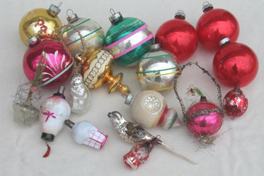 antique vintage christmas tree ornaments lot glass balls old metal tinsel decorations
