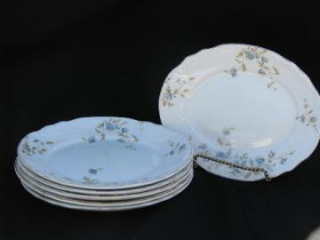 antique vintage English ironstone china transferware, Dainty floral oval salad plates