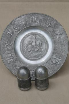 antique vintage European pewter charger plate & shakers w/ historical figures