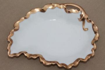 antique vintage French Limoges china leaf shaped plate w/ encrusted gold, PM de M France