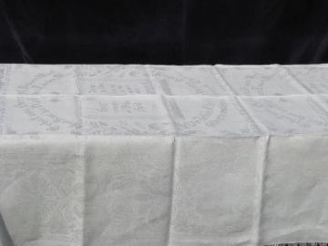 antique vintage German christening shawl, ivory linen damask, dated 1938