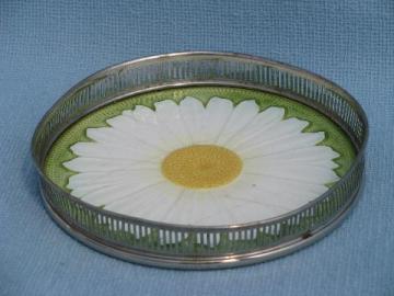 antique vintage German majolica daisy china plate w/ nickel silver tray rim