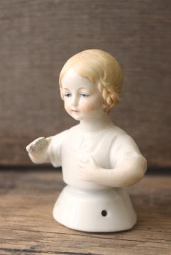 antique vintage Germany china half doll for pincushion, girl w/ blonde braids
