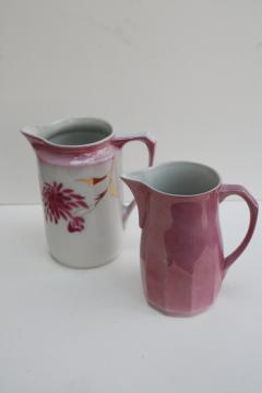 antique vintage Germany china pitchers, copper & pink luster lustreware