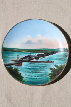 antique vintage Germany hand-painted souvenir plate, Burlington Iowa Mississippi river bridge