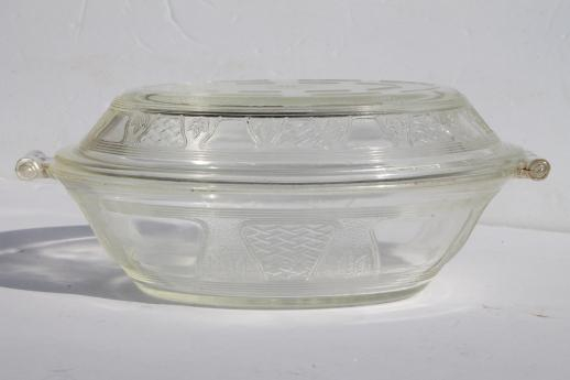 antique vintage Glasbake casserole dish & cover, clear embossed glass pattern
