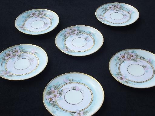 antique vintage Hand Painted Nippon porcelain plates, china dessert set