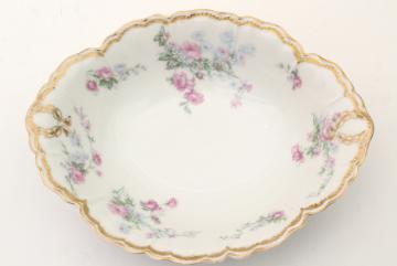antique vintage Haviland Limoges France china oval bowl, Schleiger 261 floral