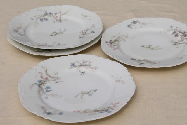 antique vintage Haviland Limoges china plates, blue cornflowers w/ pink