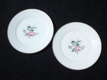 antique vintage Haviland Limoges china plates, pink moss rose pattern