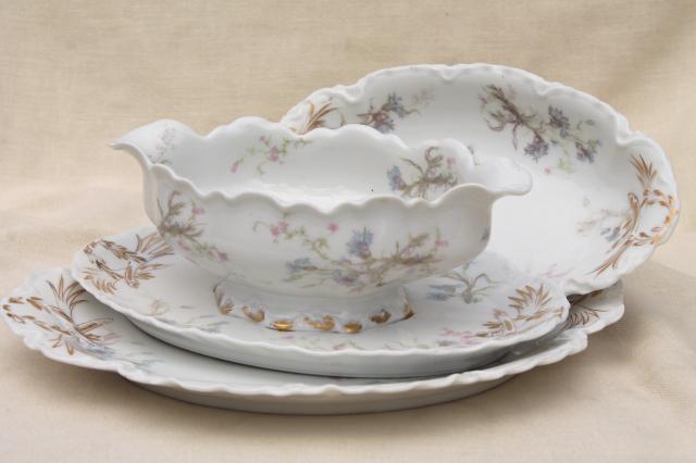 antique vintage Haviland Limoges china serving pieces, blue ...