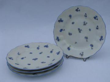 antique vintage Ludwigsburg porcelain plates, ornate white w/ blue cornflowers
