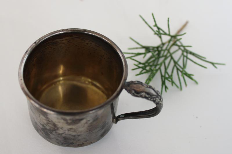 antique vintage Rogers sterling silver baby cup, little mug engraved A. B.