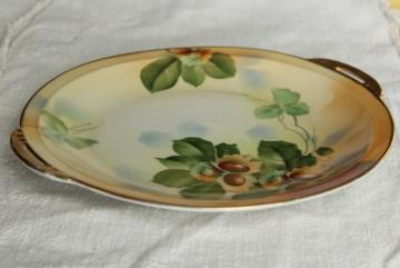 antique vintage Royal Ruldolstadt Prussia hand painted china plate w/ hazelnuts
