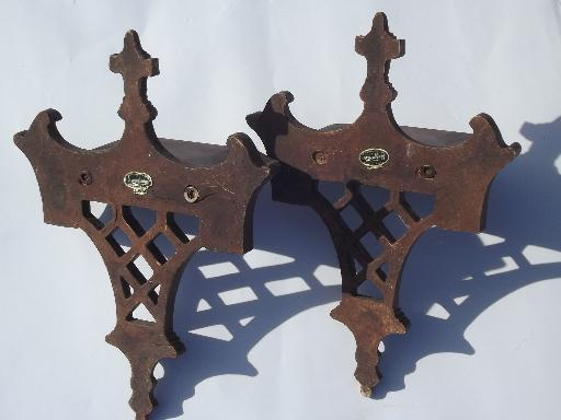 antique vintage Syroco Wood wall bracket shelves pair, original labels