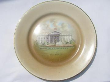 antique vintage White House souvenir china plate, Tatler & Lawson of Trenton