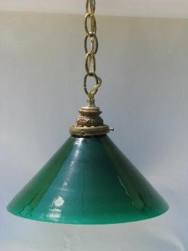 antique vintage bankers pendant light with Emerlite type, signed green cased glass shade