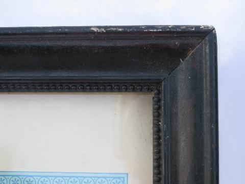 antique vintage baptismal, confirmation, marriage certificates, lovely colors, old wood frames