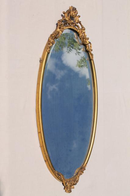 Antique Vintage Beveled Glass Mirror W Ornate Old Gold