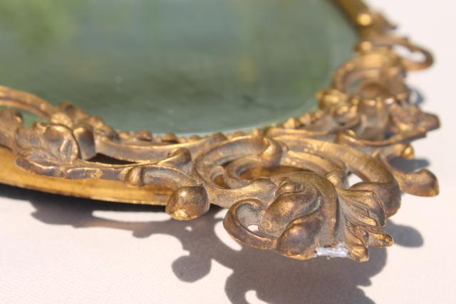 Antique Vintage Beveled Glass Mirror W/ Ornate Old Gold