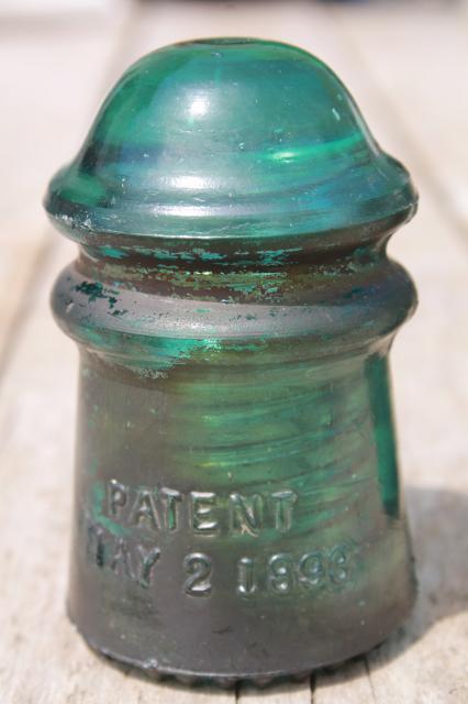 Antique Vintage Blue Glass Insulators 1890s Hemingray