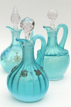 antique vintage blue opalescent glass cruet bottles, aqua colored glass