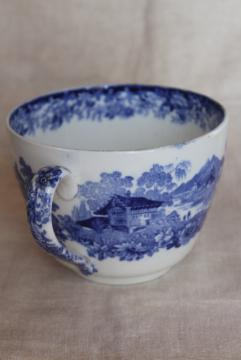 antique vintage blue & white Minton Genevese Swiss scene grand mug cup