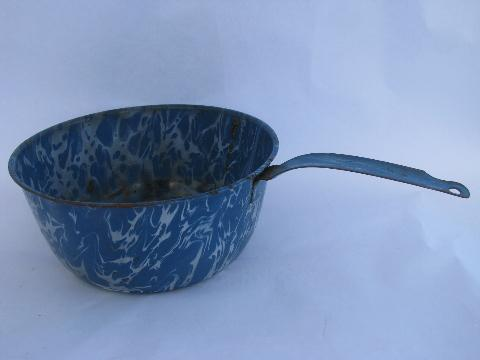 Antique Vintage Blue Amp White Marble Swirl Graniteware