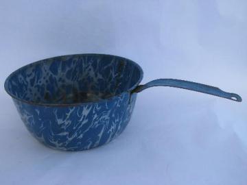 antique vintage blue & white marble swirl graniteware enamel, large pan w/ handle