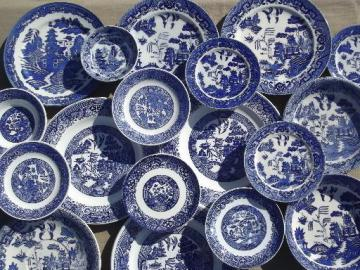 antique vintage blue willow china, shabby old blue & white plates & bowls