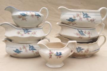antique vintage bluebird china dishes, collection of sauce pitchers & creamers