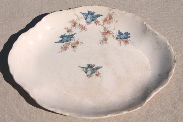 Antique Vintage Bluebird China Dishes Shabby Chic Serving