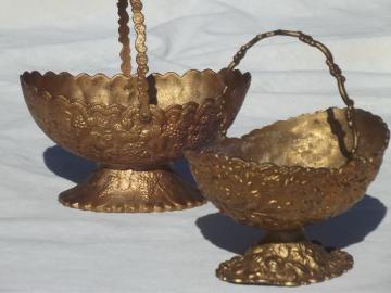 antique vintage bon bon dishes, ornate metal server baskets w/ old gold finish