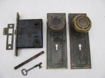 antique vintage brass door knob set complete w/deadbolt lock & key, arts & crafts bungalow