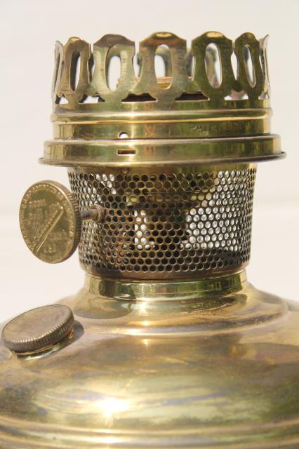 Antique Vintage Brass Oil Lamp Electrified Light W Old