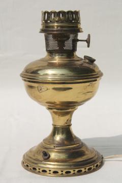 antique vintage brass oil lamp, electrified light w/ old Aladdin #11 burner