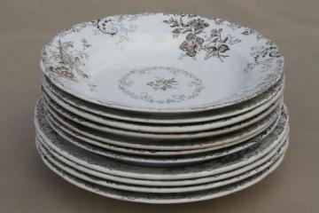 antique vintage brown transferware china plates & bowls, Chelsea pattern English Staffordshire